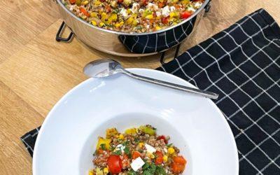 Kaszotto z warzywami i serem feta